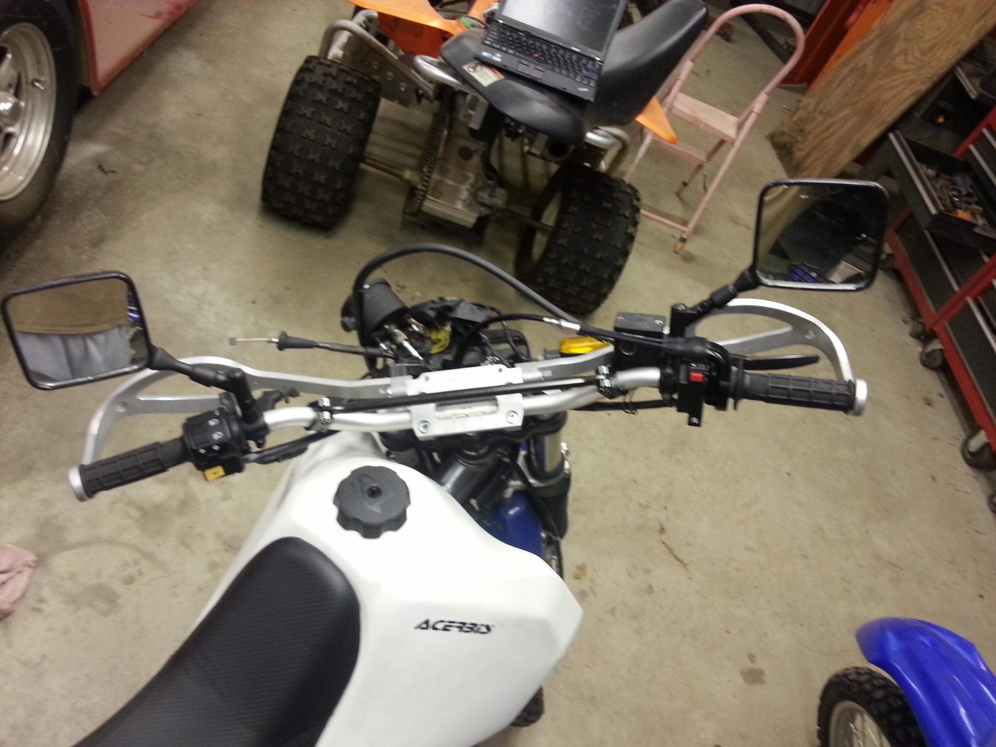 Highway Dirt Bike handlebar guards installed