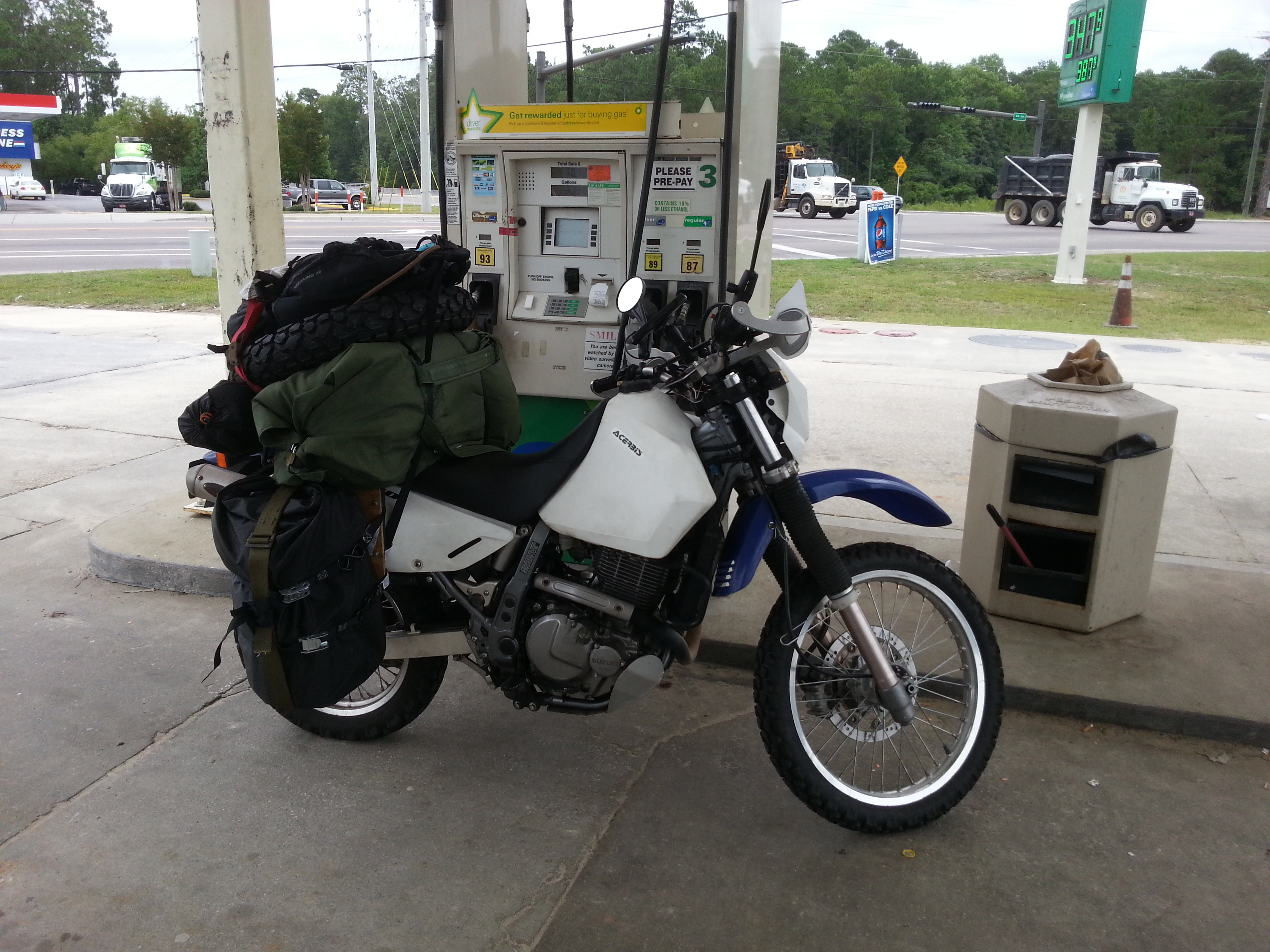 Loaded up at a gas station