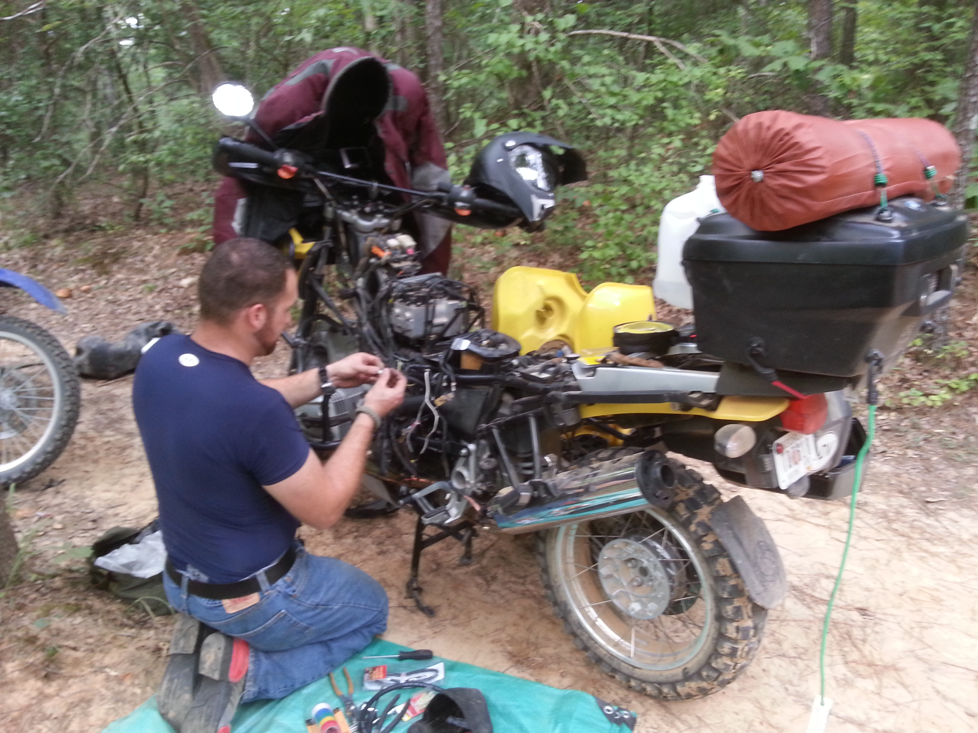 Damon working on his bike