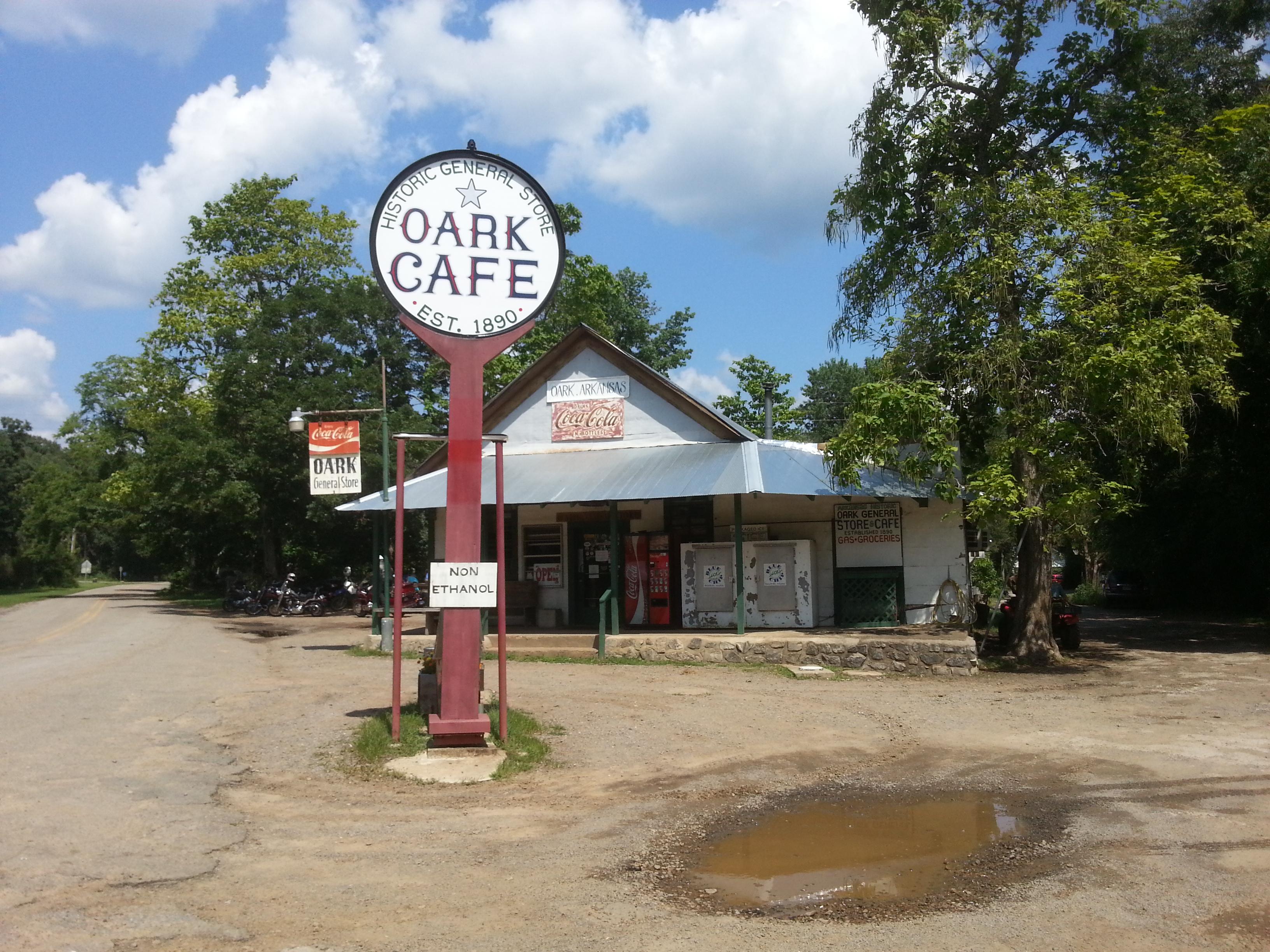 outside of the Oark, AR cafe
