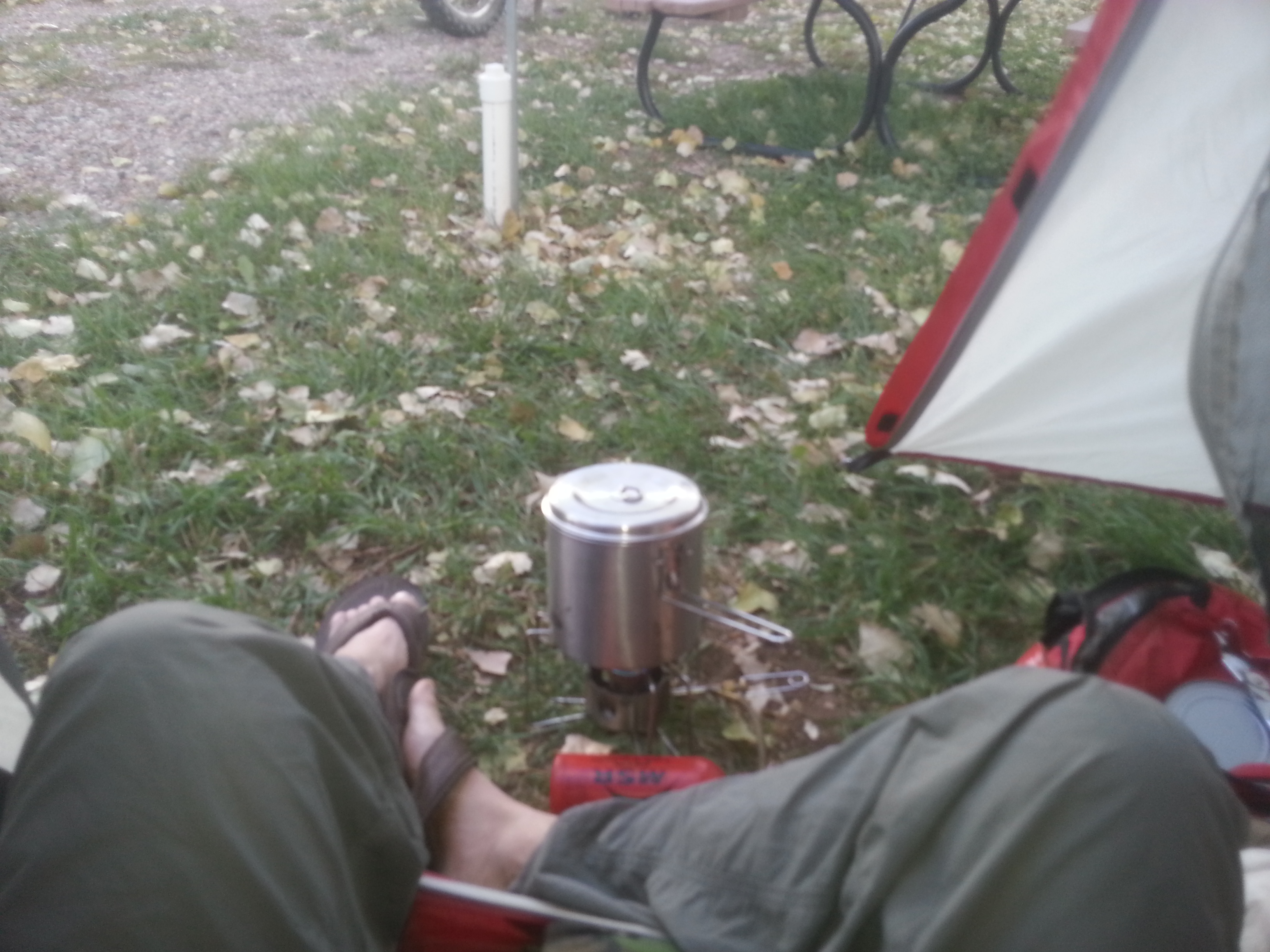 cooking in my tent's vestibule b/c the wind kept putting out the flame